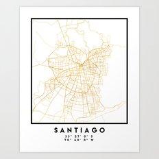 SANTIAGO DE CHILE CITY STREET MAP ART Art Print
