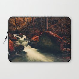 Surreal forest, river flowing in a red autumn looking forest Laptop Sleeve