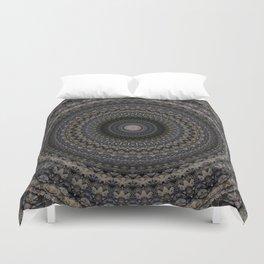 Mandala in grey and violet tones Duvet Cover