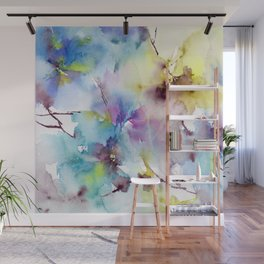 Blue abstract pattern. Abstract flowers. Wall Mural