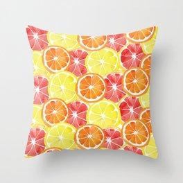 Grapefruit Lemon Orange Pattern Throw Pillow