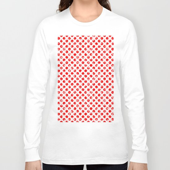 Polka Dot Red and Pink Blotchy Pattern Long Sleeve T-shirt