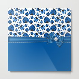 Fun Blue Ladybugs Metal Print