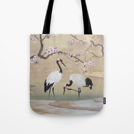 Cranes Under Cherry Tree Tote Bag