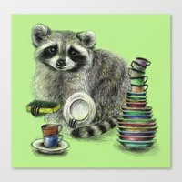 raccoon Canvas Prints featuring Raccoon by Anna Shell