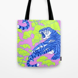 Neon Tigers and Water Lillies. Tote Bag