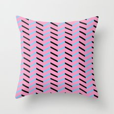 Blue and Black Chevron on Hot Pink Throw Pillow