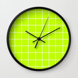 Grid (White/Lime) Wall Clock