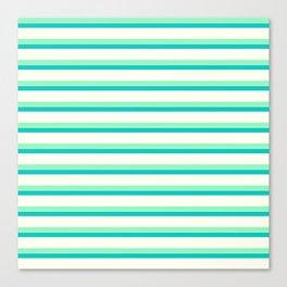 Seafoam Green & Cream Stripes Canvas Print