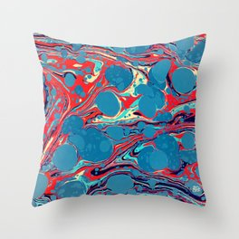 Vintage Marble Blue Watercolor Ink Abstract Pattern Throw Pillow
