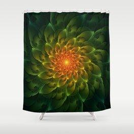 Beautiful Orange-Green Desert BarrelCactus Spiral Shower Curtain