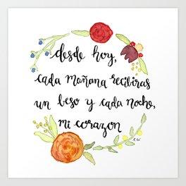 Un Beso y Mi Corazon Art Print