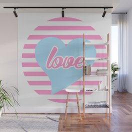 Love With Heart, Typography, Blue Heart and Pink Stripes, Sticker Wall Mural