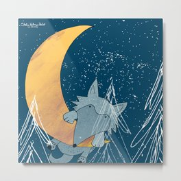 Hanging with the Moon Metal Print