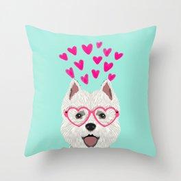 Westie west highland terrier white valentines day dog lover pet valentine Throw Pillow