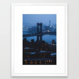 Manhattan Bridge at twilight Framed Art Print