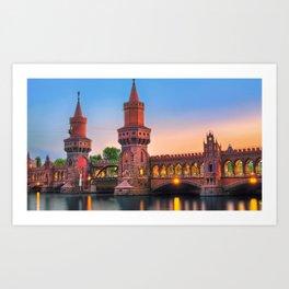 Famous Berlin City Oberbaum Bridge Across Spree River At Romantic Evening Red Ultra HD Art Print