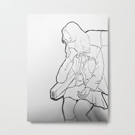 Sleeping on a train. Metal Print