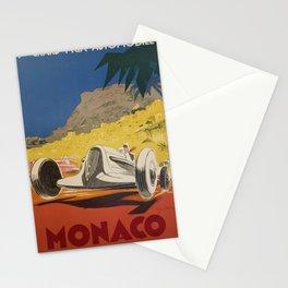 Vintage 1934 White Deco Monaco Grand Prix Car Advertisement Poster by Geo Ham Stationery Cards