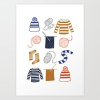 knitting Art Prints featuring Knitting by Holly Dunn Design