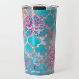 Mixed Media Layered Patterns - Turquoise, Pink & Coral Travel Mug