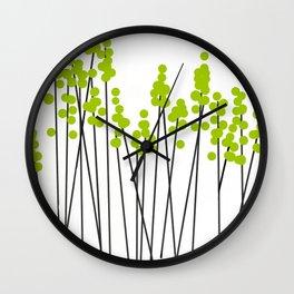 Hello Spring! Green/Black Retro Plants on White #decor #society6 #buyart Wall Clock