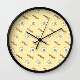 Eggs and Bacon Breakfast Foodie Funny Pattern Wall Clock