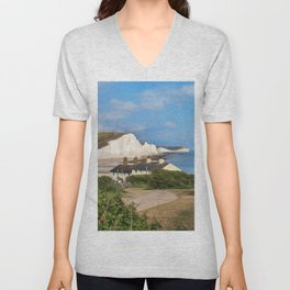 Seven Sisters country park tall white chalk cliffs, East Sussex, UK Unisex V-Neck