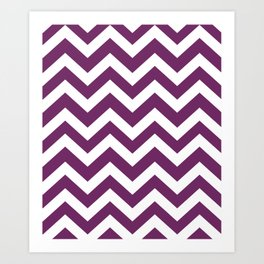 Byzantium - violet color -  Zigzag Chevron Pattern Art Print