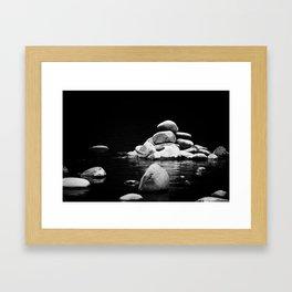 Cold River Rocks Framed Art Print