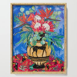Tropical Protea Bouquet with Toucans in Greek Horse Urn on Ultramarine Blue Serving Tray