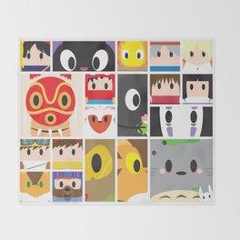 World of Ghibli Blocks Throw Blanket
