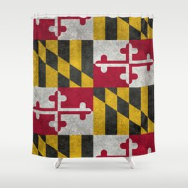 State flag of Flag of Maryland, Vintage retro style Shower Curtain