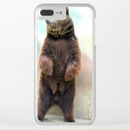 Smiling for the cameras this very cute bear. Clear iPhone Case