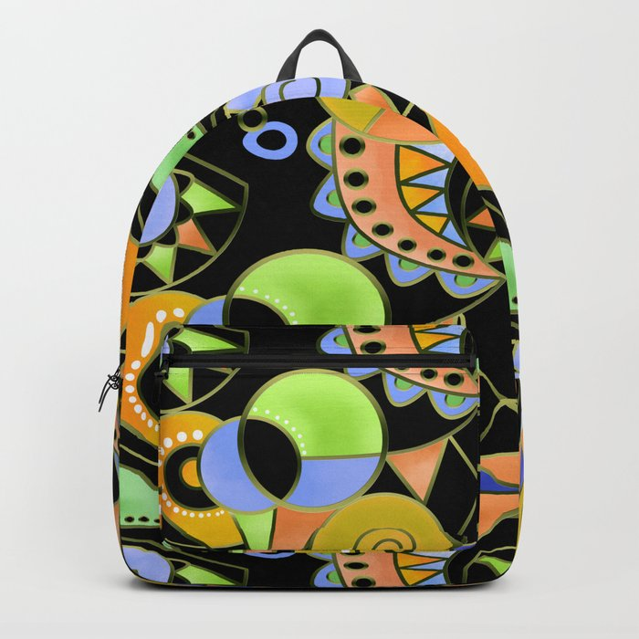 Abstract black green , colorful ornament . Backpack