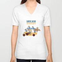 safari V-neck T-shirts featuring Surfin Safari by DWatson