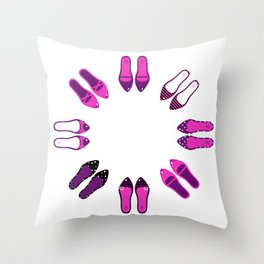 Big Collection of sexy female shoes Throw Pillow