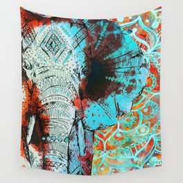 Indian Sketch Elephant Blue Orange Wall Tapestry