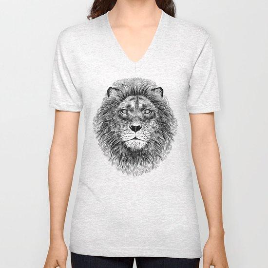 Black+White Lion Unisex V-Neck