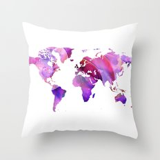 World Map 20 Pink and Purple by Sharon Cummings Throw Pillow
