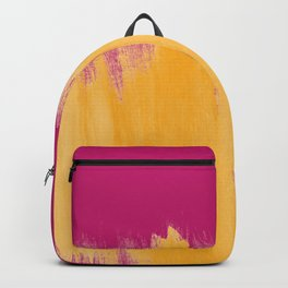 Mango Yellow Brushstrokes on Strawberry Pink Backpack
