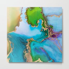 Turquoise Watercolor Abstract Metal Print