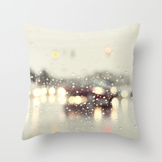 driving in the rain Throw Pillow