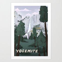 Yosemite National Park, Yosemite Falls, Waterfall, California Parks Art Print