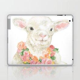 Baby Lamb Floral Watercolor Farm Animal Laptop & iPad Skin