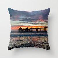 calendars Throw Pillows featuring Huntington Beach Sunset  1/26/14 by John Minar Fine Art Photography