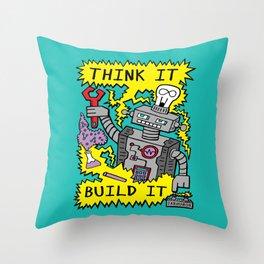 Think Build Robot Throw Pillow