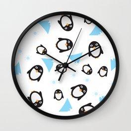 Blue, White, Blue Penguin pattern Wall Clock
