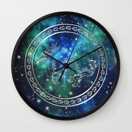 Silver Galactic Dragon Wall Clock