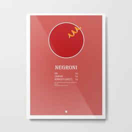 Negroni Cocktail Recipe Poster (Imperial) Metal Print